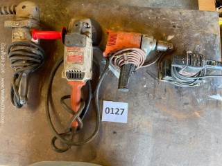 (2) Grinders, (1) Drill and (1) Sander
