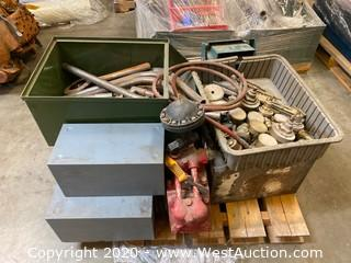 Pallet Of Welding Gauges And Leads, Grinder, Hose, Cabinet, And More