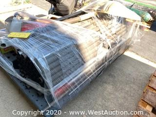 Pallet of Metal Pipes & Metal Rods, Snow Shovel