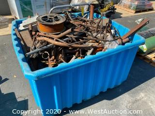 4ft Plastic Bin with Assorted Parts , Metal Scraps, Cable, & More