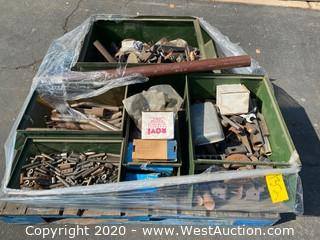 Pallet of Assorted Metal Parts & Components in (5) Metal Bins