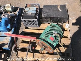 Pallet of Safe; Antique Transformers; Hand Snow Plow; Weiland Electric Motor