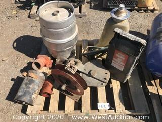 Pallet of Gas Station Supplies and Beer Keg