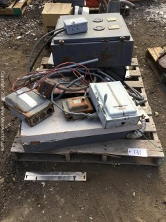 Pallet of Electrical Boxes And Controls, Pump, Pressure Switch, Timer Switcher