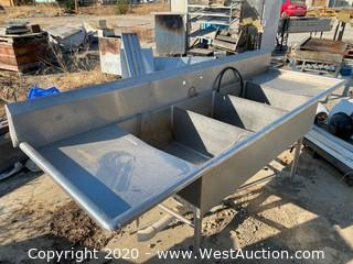 Stainless Steel 3 Basin Sink with 2 Drainboards