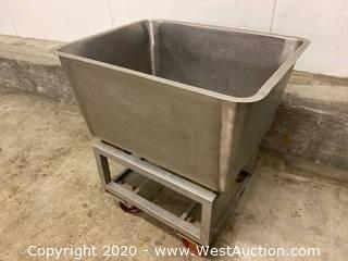 """Stainless Steel Tub Cart - 24"""" x 32"""" x 35"""""""