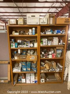 (2) Wood Shelves Contents Included, Light Bulbs, CFL Lamps, HID lamps