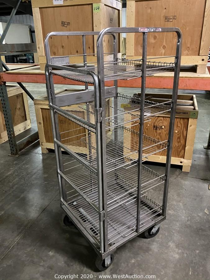 (50) Rolling Wire Shelving Racks & (540) Milk Crates