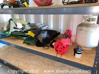 Contents of Single Shelf - Propane Tank, Camping Chairs, Extension Cord, Coleman Air Mattress, (2) Electric Air Pumps