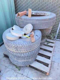 Bulk Lot: (8) Assorted Truck Tires, Trailer Hitch, Assorted Utility Box Caps, & Trailer Leg