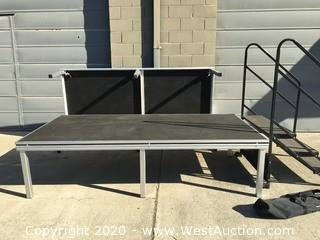 "(2) 24"" Portable Stage With Stairs - Black top With Aluminum Frame - Staging Canadell"