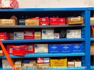 (12) Shelves of Assorted Thermostats, Idler Pulleys, Belt Tensioners