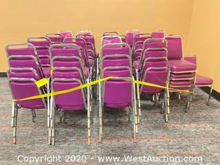 (70+) Metal Frame Vinyl Padded Stacking Chairs - Purple