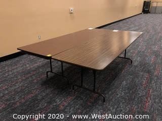 (2) 8' Folding Tables, Wood Finish