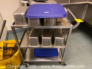 Stainless Steel Cart With Bins, Trays, And More