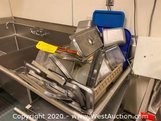 Contents Of Sink; Stainless Steel Lids, Bins, And More