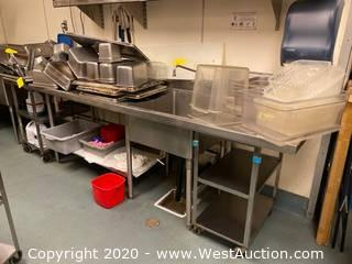 Contents Of Sink; Stainless Steel Trays, Tubs, Plastic Bins, And More