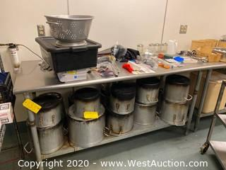 Contents Of Table; Stainless Steel Pots, Tools, and More