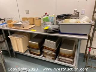 Contents Of Table; (25+) Stainless Steel Tray, Plastic Tubs, Dispensers, And More