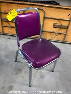 (43) Cushioned Metal Frame Stacking Chairs - Purple