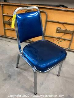 (34) Cushioned Metal Frame Stacking Chairs - Blue