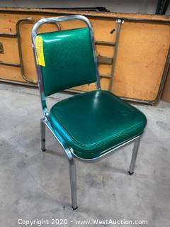 (40) Cushioned Metal Frame Stacking Chairs - Green