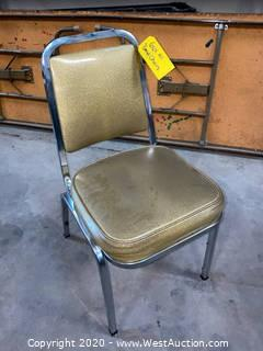 (43) Cushioned Metal Frame Stacking Chairs - Golden