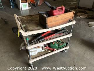 Metal Framed Plastic Shelf Utility Cart with Contents