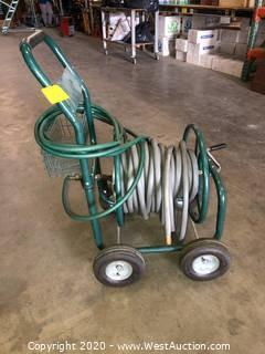 Rolling Hose Reel Cart & Hose