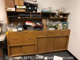 """Wood Credenza Storage Cabinet 78""""x18""""55"""" and Contents"""
