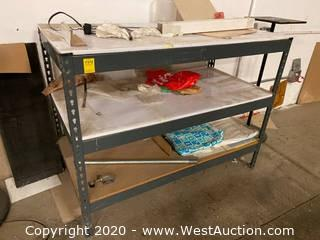 Metal Table 4'x2'x3' with 2 Undershelves