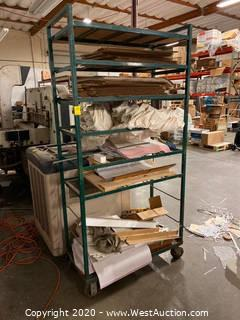 6' Metal Rolling Shelf Rack with Contents