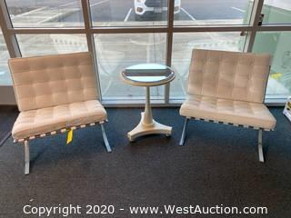 (2) Tufted Visitor Chairs and Small Round Table