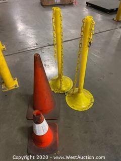 (2) Traffic Cones And (2) Yellow Plastic Chain Barriers