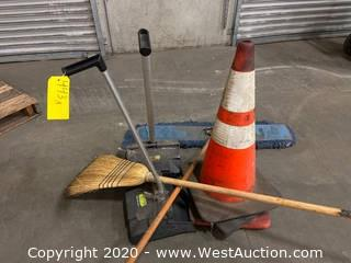 (3) Traffic Cones (2) Dust Pans (1) Broom (1) Mop