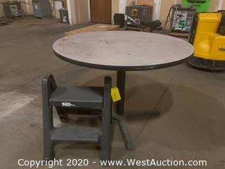 Circular Table And Step Stool