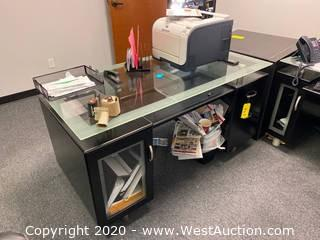 Metal/Glass Executive Desk with HP Color Laser Printer and More