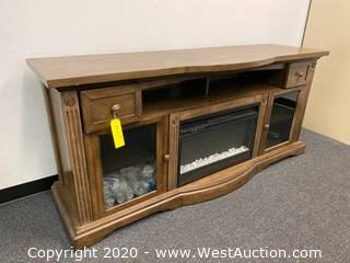Wooden TV Stand with Fireplace
