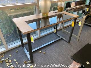 Wood/Metal Desk With Tempered Glass Section