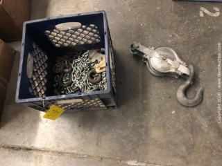 Hoist with Hook & Crate of Assorted Chain and Clevises