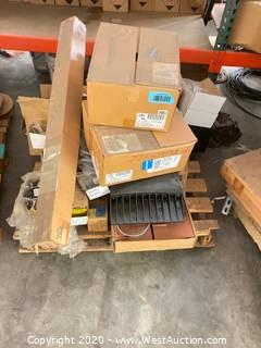 Pallet of Electrical Components, Breakers, Fixtures, and Material