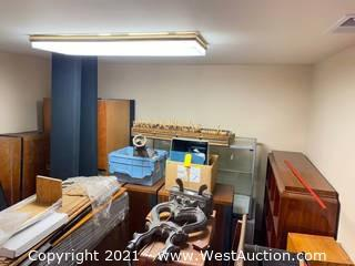 Bulk Lot: Set of Sovereign 2001 Speakers, Acoustat Towers, Display Cabinets and Furniture (Pianos Not Included)