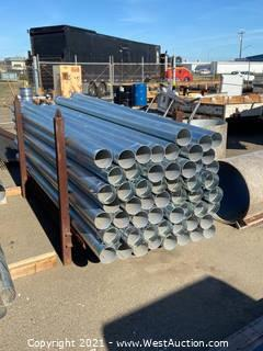 Approximately (50+) Pieces Of Galvanized Steel Conduit With Rack
