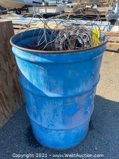55 Gal Drum with Assorted Wire & Scrap Metal