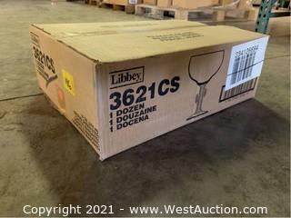 (1) Boxes Of (14) oz Citrus Green Stem Cactus Margarita Glasses   (3621CS)