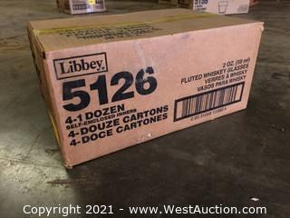 (1) Boxes Of (48) 2 oz Fluted Whiskey Glasses  (5126)