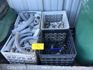 (4) Milk Crates of Assorted Size/Shape PVC Pipe & Sprinkler Connections