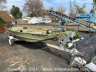 1986 15' Lowe Fishing Boat With Trailer