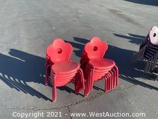 12 Red Cloverleaf Children's Chairs