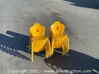 12 Yellow Cloverleaf Children's Chairs